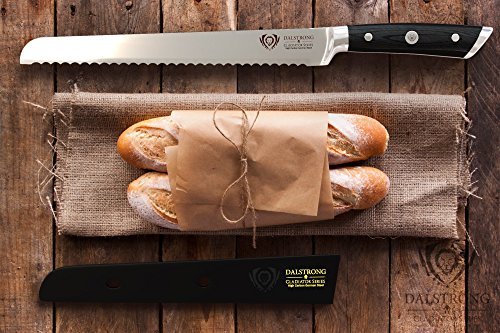 """DALSTRONG Bread Knife - Gladiator Series - German HC Steel - 10"""" (254 mm) 6 Outstanding craftsmanship, cutting-edge technology, stunning design elements, and premium materials. Peak performance has never looked so good at this price. Incredibly razor sharp, full-tang, imported high-carbon German steel with a hand polished edge at 14-16 degrees per side. Geometrically angled serrations ensure effortlessly thin slicing with a single stroke, minimal crumb dispersion with breads, and painlessly smooth cutting of large fruits, cabbage, and boneless hams Award winning bread knife design, with satisfying heft, premium materials and quality feel. Luxury imported black pakkawood handle is triple-riveted with a grip that ensures comfort and maneuverability. Laminated and polished for a sanitary build, perfect for busy kitchens"""