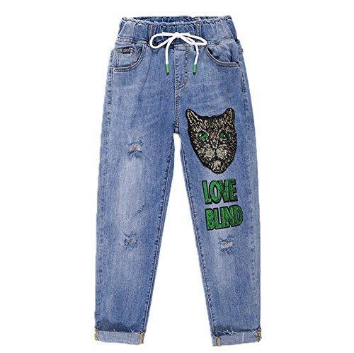 Pantalones Flojo 3 Cordón Jeans Con Moda New Harem Hole 4 Summer Bordado De qztHFUnZw