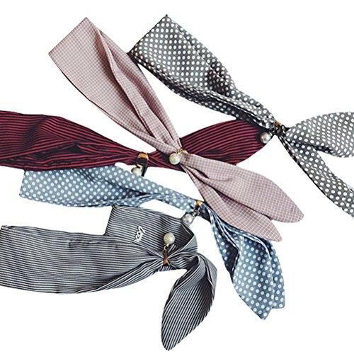 IvyFlair Small Striped Checker Plaid Fashion Skinny Neck Tie Scarf w/ Clip Ring