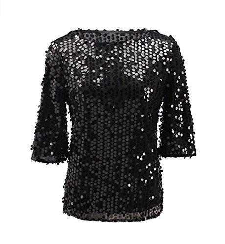 Easyhon Women Sequin Sparkle Glitter Tank Coctail Party Tops Shining T-Shirt Blouses Black
