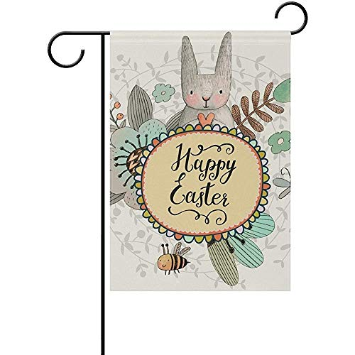 HUVATT Stunning Easter Cute Rabbit Butterfly Bee Garden Flag Home Polyester Fabric Mildew Resistant Welcome House Yard -