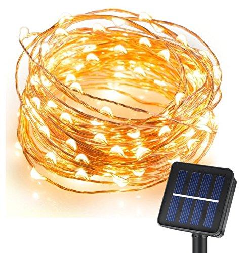 Cmyk-LED-solar-guirnalda-de-luces-Navidad-exterior-parranda-fiesta-jardn-10M33FT-120er-Blanco-Clido