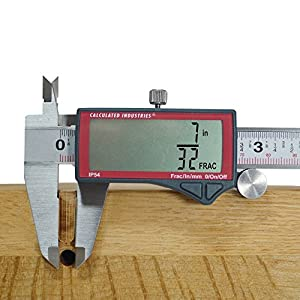 Calculated Industries 7408 AccuMASTER 6-Inch Digital Caliper; Fractional (1/64ths) + Inch + Metric with Largest Display Digits for Woodworkers, Stainless Steel, IP54