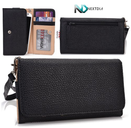 Smartphone Wristlet and Wallet in One [ Black ] - Fits Pantech Vega R3 IM-A850L Universal Case designed By Kroo +Complimentary NextDia ™ Velcro Cable Strap Included