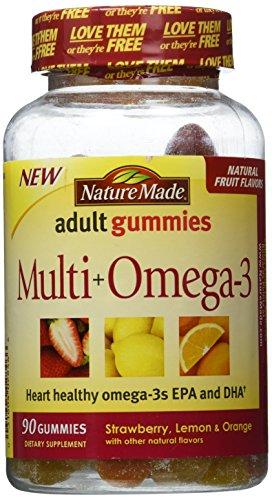 Nature Made Multi+Omega3 Adult Gummies Strawberry Lemon & Orange — 90 Gummies
