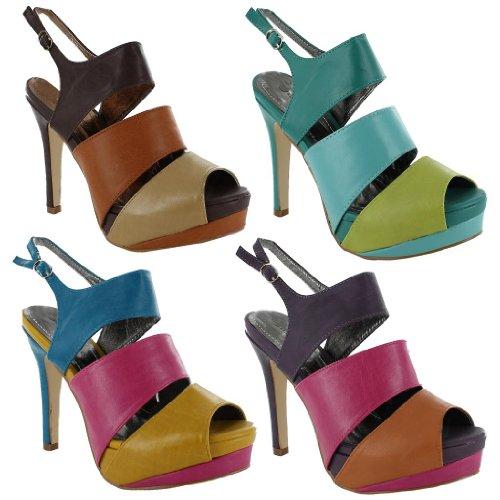 Footwear Sensation - punta abierta mujer azul - Blue / Turqouise / Green