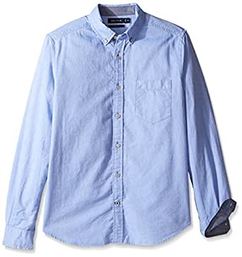 Nautica Men's Long Sleeve Button Down Solid Oxford Shirt, French Blue, X-Small