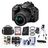 Nikon D5600 DSLR Camera Kit with AF-P DX NIKKOR 18-55mm f/3.5-5.6G VR Lens, Black - Bundle With Camera Case, 32GB SDHC Card, Spare Battery, Tripod, 55mm Filter Kit, Software Package And More