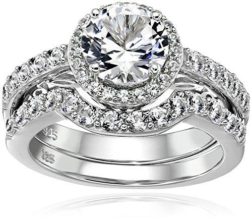 ed Round Created White Sapphire Engagement Ring Set, Size 7 (Framed Round Ring)