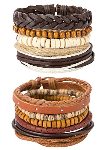 REVOLIA 10-15Pcs Mens Womens Leather Bracelets Wooden Beaded Bracelets Braided Cuff (D: 10 Pcs Set)