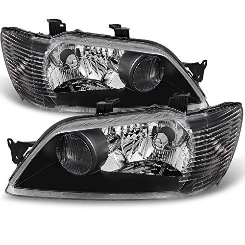 For Mitsubishi Lancer LS ES OZ Models 4Dr Sedan & 5Dr Wagon Black Headlights Replacement Pair Set