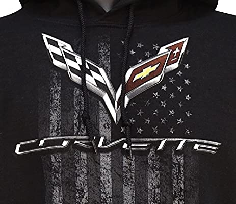 GM Licensed C7 Corvette Men/'s Hooded Sweatshirt American Legacy Black