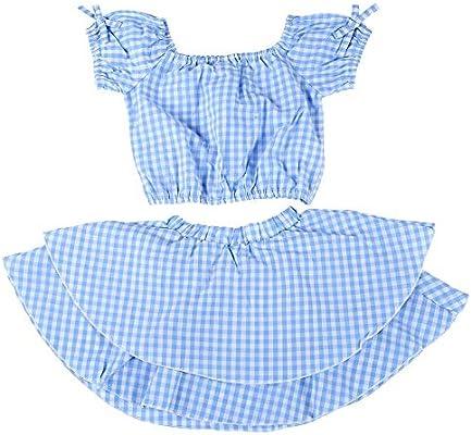 Trajes de vestir de tela escocesa azul-blanco para niñas bebés, 2 ...