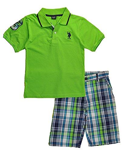 U.S. Polo Assn. Boys 2 Piece Big Pony Solid Pique Polo Shirt and Plaid Short, Lime 8