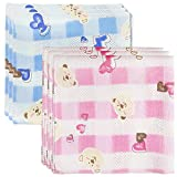 100% Cotton Handkerchief Gauze Muslin Square Lovely Bear Pink Blue 6pcs