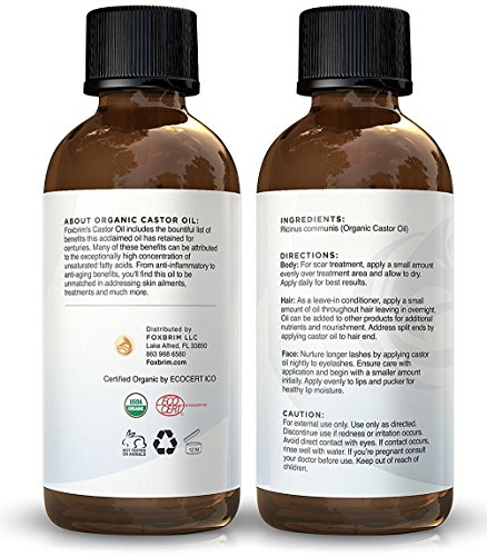 Organic Castor Oil 4oz 100 Pure Cold Pressed USDA Certified Hexane Free For Hair Skin Eyelashes Eyebrows Nails With Treatment Applicator Kit By Foxbrim