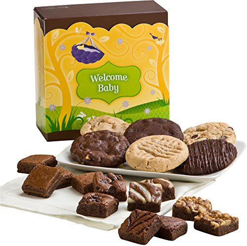 Fairytale Brownies Welcome Baby Cookie & Magic Morsel Combo Gourmet Food Gift Basket Chocolate Box - 1.5 Inch x 1.5 Inch Bite-Size Brownies and 3.25 Inch Cookies - 18 Pieces
