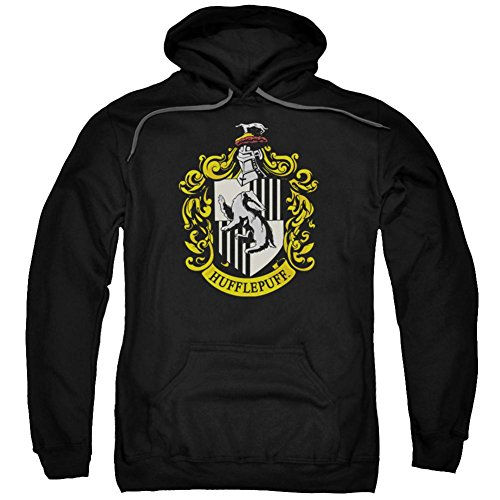 Trevco Harry Potter Hufflepuff Crest Mens Pullover Hoodie (Black, ()