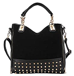 Happy Shopping Retro Rivet Handbag Shoulder Bag Messenger Matte Stitching Handbags Black