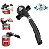 Safe Cut Can Opener / Manual Side Cut Can Opener/ Ergonomic Smooth Edge /Anti-slip Grips Handle Design /Food Grade Stainless Steel for Kitchen and Restaurant (Easy to open ) (Black)