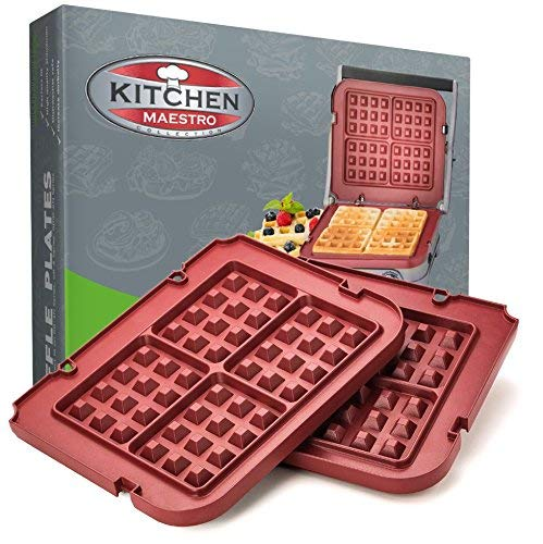 Kitchen Maestro Waffle Plate Attachments for Cuisinart Griddler - Nonstick, Dishwasher Safe, Lock-In Place, Red, made for GR-4N and GRID-8N Series