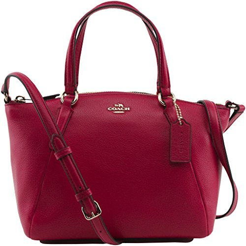 Coach Womens Pebble Leather Mini Kelsey Satchel, Style F57563, Im Bright Pink