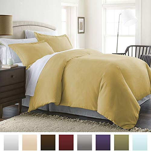 Beckham Hotel Collection Luxury Soft Brushed 1800 Series Microfiber Duvet Cover Set with Zipper Closure - Hypoallergenic - Full/Queen, Pure Gold