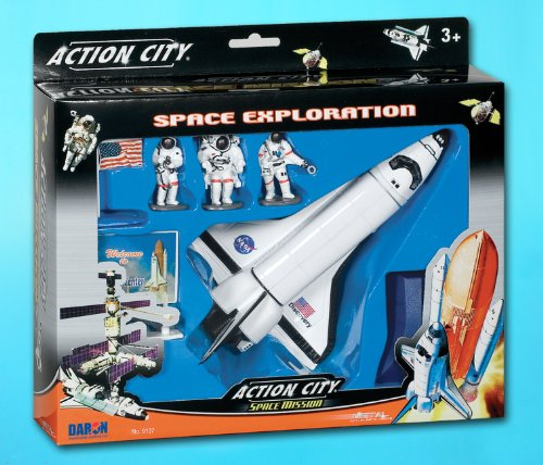 Daron Worldwide Trading Inc. Space Shuttle with Stand 3 Astronauts, American Flag and Kennedy Space Center Sign - Astronaut Stands