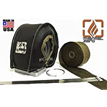 Turbo Blanket Heat Shield Kit for T3 Turbocharger with LAVA / TITANIUM Downpipe Exhaust Wrap and Stainless Ties - BLACK - Thermal Zero
