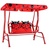 Costzon Patio Swing, Porch Swing with Safety Belt, 2 Seats Outdoor Lounge Chair Hammock with Canopy, Patio Deck Furniture for Kids (Ladybug Pattern,Red) For Sale