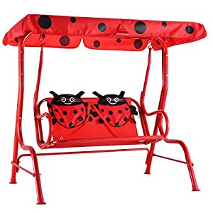 Costzon Kids Patio Swing Bench Children Porch Swing Chair 2 Seater with Canopy  sc 1 st  Amazon.com & Amazon.com : Costzon Kids Patio Swing Bench Children Porch Swing ...