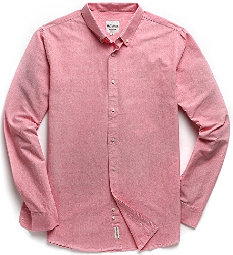 Men's Oxford Long Sleeve Button Down Casual Dress Shirt,Pink,X-Large
