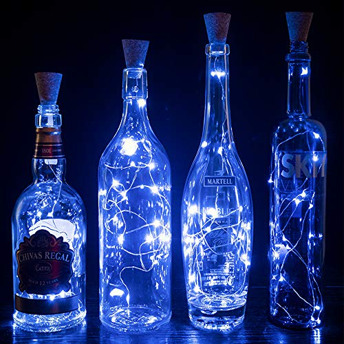 Guguda Wine Bottle Cork Lights LED 6 Pack, Timing Function 2nd Generation Silver Wire Starry Fairy Lights for Bottle DIY Christmas Halloween Wedding Birthday Party Indoor Outdoor Decoration (Blue)