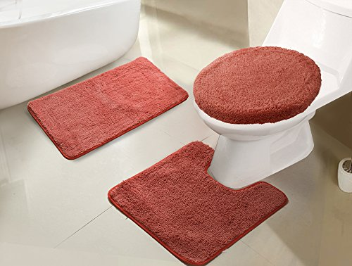 RT Designers Collection Imperial 3-Piece Bath Rug Set, Terracotta ()