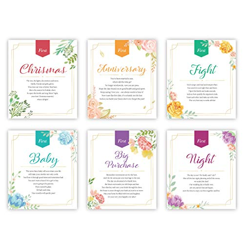 Milestone Wine Bottle Labels for Wedding, Engagement, Bridal Shower with Wedding Poems (Watercolor Floral)]()
