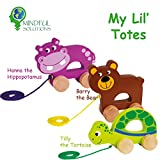 Classic Wooden Pull Toys - My Lil' Totes - Introducing Hanna the Hippopotamus, Barry the Bear and Tilly the Tortoise. Three beautiful children's toys designed for indoor and outdoor play.