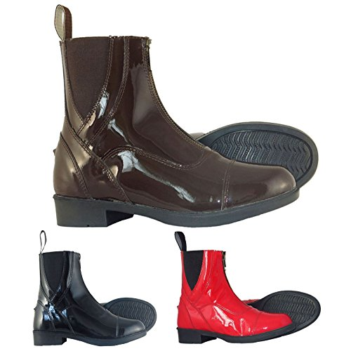 Colours in Horse Leather Black Joy Boots Jodhpur and Front Sizes Zip Riding All Rider Patent tqtPz