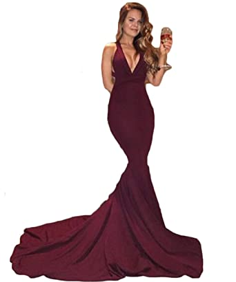 PinkMemory Sexy Mermaid V-neck Burgundy Prom Dress Long Formal Dress with Train 2