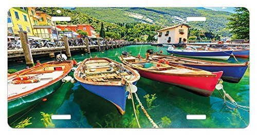 zaeshe3536658 Italy License Plate, Summer Landscape and Wooden Boats on the Lake Garda Torbole Town Fishing Maritime, High Gloss Aluminum Novelty Plate, 6 X 12 Inches.