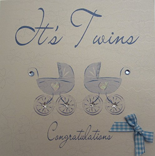 - white cotton cards Its Twins Congratulations Handmade New Baby Card Blue Prams