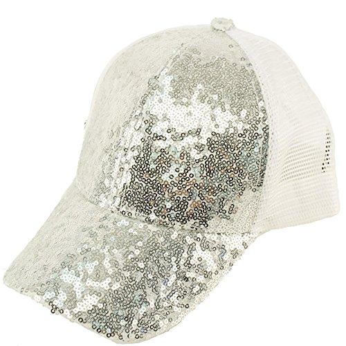 Sequin Baseball Cap (Everyday Sequins Bling Mesh Trucker Plain Baseball Ball Cap Hat Solid)
