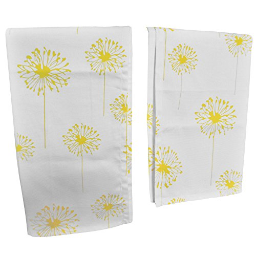 "Crabtree Collection Premium Quality Set Of 2 Kitchen Dish Towels by 100% Cotton Absorbent Tea Towels – Classy Yellow Dandelion Design – Ideal 18"" x 28"" Dimensions …"