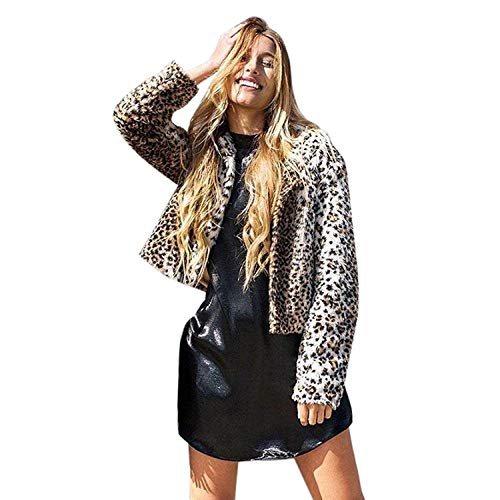 BOLAWOO Chaqueta De Piel Mujer Invierno Elegante Corto Abrigos Piel Sintética Leopardo Mode De Marca Estampadas Abrigo Party Manga Larga Hipster Abrigos Blanco
