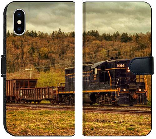 Apple iPhone Xs MAX Flip Fabric Wallet Case Image of Train Transport Locomotive Engine Railroad Old Travel Smoke Transportation Railway Track Steam Metal rai