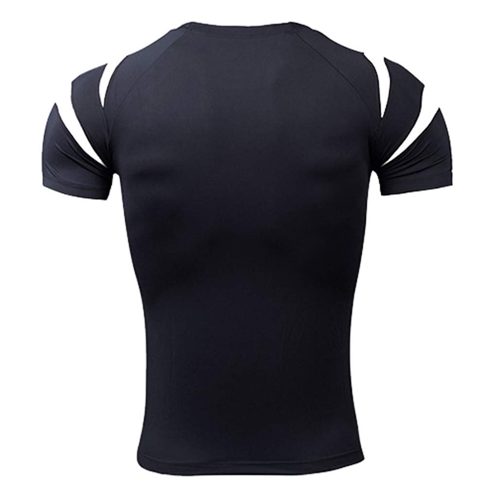 Palarn Mens Fashion Sports Shirts Mens Fitness Short Sleeves Rashguard T-Shirt Bodybuilding Skin Tight-Drying Tops