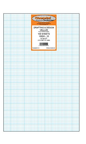 Clearprint 1000H Design Vellum Sheets with Printed Fade-Out 10x10 Grid, 16 Lb., 100% Cotton, 11 x 17 Inches, 100 Sheets Per Pack, 1 Each (10203516) by Clearprint (Image #3)