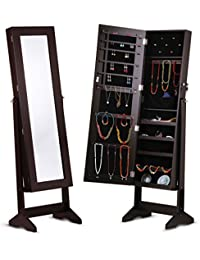 LANGRIA Free Standing Lockable Full Length Mirrored Jewelry Cabinet Armoire,  4 Angle Adjustable Organizer Storage for Rings, Earrings, Bracelets,