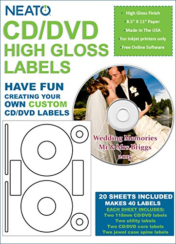 NEATO High Gloss CD/DVD Labels - 40 Pack - (Neato Dvd Labels)