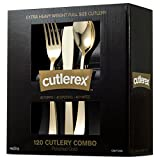 CUTLEREX Extra Heavy Duty Plastic Silverware Cutlery – Gold – Disposable Flatware Set 40 Forks 40 Spoons and 40 Knives Combo 120 Bulk Pack Essential Party Supplies