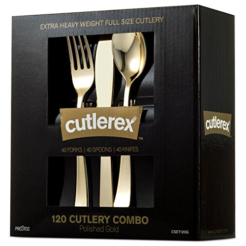 CUTLEREX 120-PIECE PLASTIC SILVERWARE SET - Plastic Cutlery - GOLD - Disposable Flatware - 40 Gold Plastic Forks, 40 Gold Plastic Spoons, 40 Gold Plastic Knives - Heavy Duty Utensils Solid Durable
